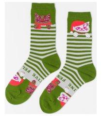 yellow owl workshop women's festive cat socks