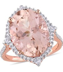 morganite (9 3/4 ct. t.w.), white sapphire (1/4 ct. t.w.) and diamond (3/8 ct. t.w.) halo cocktail ring in 14k rose gold