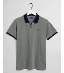 gant poloshirt rugger donker navy details pique regular fit groen