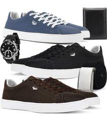 kit 3 pares de sapatãªnis skateboard sapatofran casual azul, preto e cafã© com brindes - azul/cafã©/preto - masculino - lona - dafiti