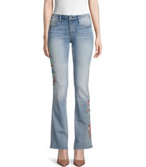 driftwood women's floral embroidered flared jeans - light wash - size 27 (4)
