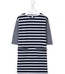 il gufo casual striped dress - blue