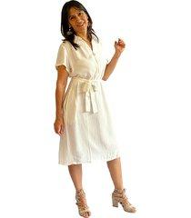 vestido corto camisero chalis crudo plica
