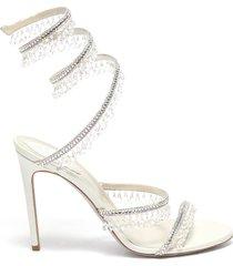 'cleo' chandelier strass coil anklet satin heel sandals