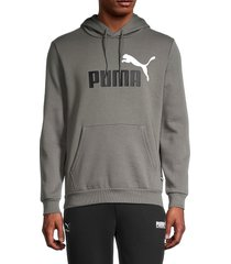 puma men's essential fleece hoodie - grey - size l