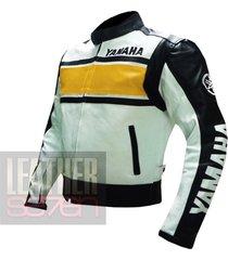 yamaha 5241 yellow leather motorcycle motorbike pure  cowhide safety  jacket