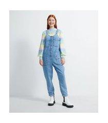macacão longo jeans com bolsos e bordados coloridos | blue steel | azul | m