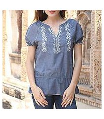 cotton blend tunic, 'cadet blue thrills' (india)