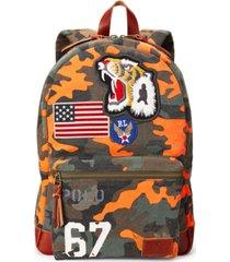 polo ralph lauren men's tiger-patch camo canvas backpack