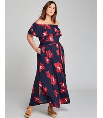 lane bryant women's convertible off-the-shoulder maxi dress - printed 14/16p navy & red