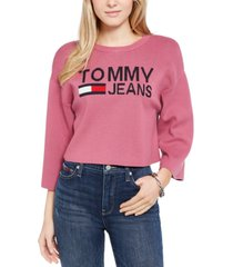 tommy jeans logo graphic cropped sweater