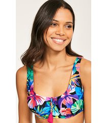 hawaii floral underwire crop bikini top b-g