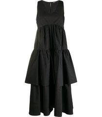 aspesi tiered ruffled dress - black