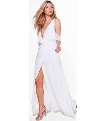 chiffon maxi wikkel bruidsmeisjes jurk met franjes, ivoor