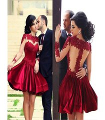 burgundy short satin homecoming dress,party dresses,evening/short prom dresses