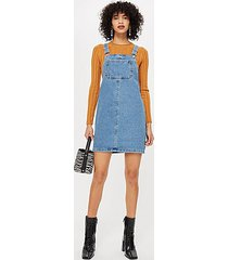 denim pinafore dress - mid stone