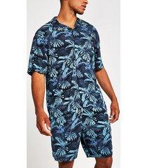 mens jack and jones blue print regular fit shirt