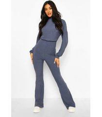 recycled roll neck blouson sleeve rib jumpsuit, blue