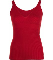 ami amalia paper yarn ribbed-knit vest - red