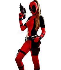 high quality fantasia lady deadpool jumpsuit costume spandex adult red fullbody