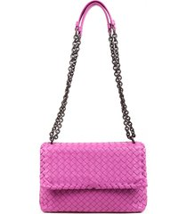 bottega veneta intrecciato olimpia medium purple leather shoulder bag purple sz: s