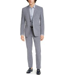 perry ellis men's premium slim-fit stretch textured grid tech suit, machine washable