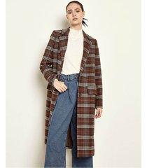 tapado marrón portsaid checkered coat thelma