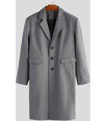 incerun abrigo grueso de lana de color sólido cálido de invierno de estilo británico para hombre