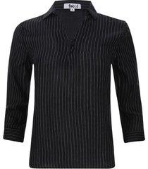 camisa m3/4 rayas color negro, talla 10