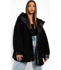 faux fur teddy parka jas met capuchon, black