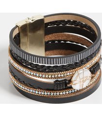 maurices womens black caged pearl multi row magnetic bracelet