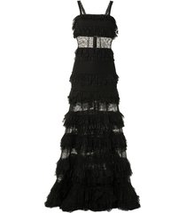 alexis amaryllis ruffled tiered gown - black
