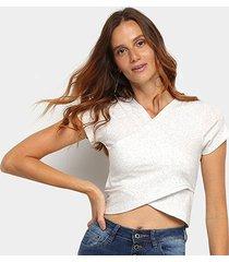 blusa cropped top moda transpassada feminina