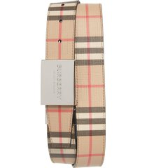 men's burberry plaque buckle reversible vintage check e-canvas belt