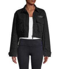 alala women's apex cropped jacket - black - size xs