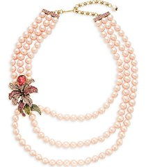 bold flower layered strand necklace