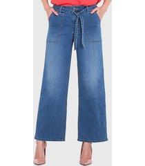 jeans wados palazzo con lazo denim azul - calce holgado
