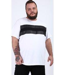 camiseta masculina plus size com recortes manga curta gola careca branca