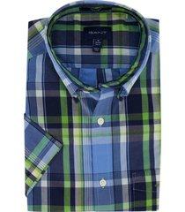 gant overhemd korte mouwen geruit blauw groen