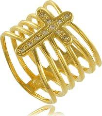 anel gadiador em cruz com zircônia 3rs semijoias dourado