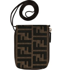 fendi pre-owned zucca pattern wallet on strap - brown