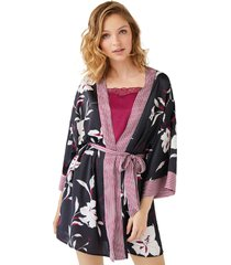 bata kimono corta saten flores multicolor women secret 363514798l