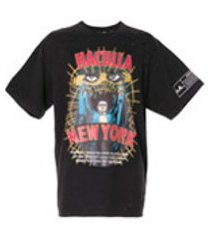 haculla camiseta com estampa de logo e efeito destroyed - preto