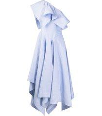 alexander mcqueen off-shoulder asymmetric midi dress - blue