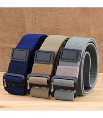 mens long weave canvas web elasticity cintura outdoor slider buckle regolabile cintura