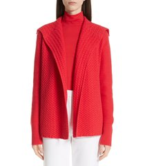 women's st. john collection cable knit cardigan, size medium - red