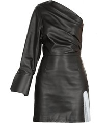 off-white acid one shoulder leather dress