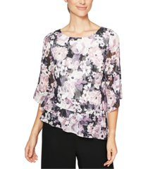 alex evenings printed asymmetrical-hem top