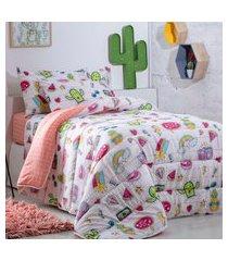 jogo de cama solteiro duplo 3 peças sultan happy day cactus