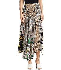 patchwork print silk skirt